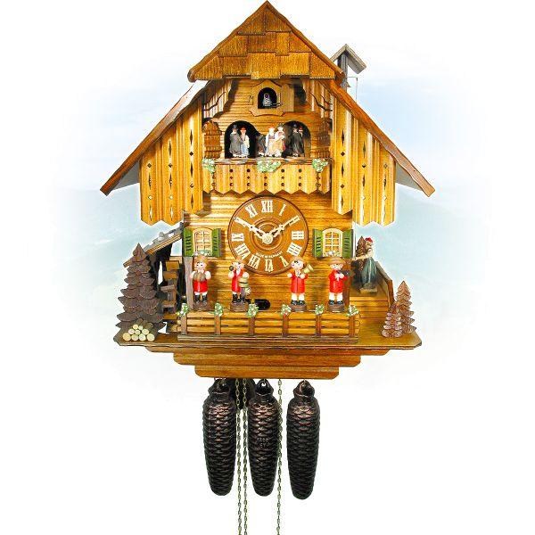 Kuckucksuhr Schaffhausen, August Schwer: Schwarzwald Haus, Musikanten