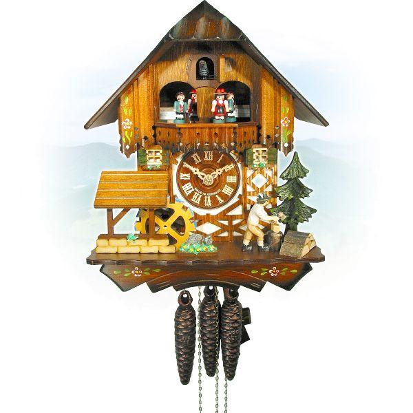 Kuckucksuhr Cáceres, August Schwer: Haus, Mühlrad, Holzhacker