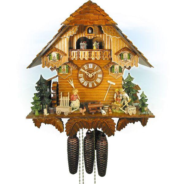 Kuckucksuhr Brussels, August Schwer: Chalet Bollerwagen-Uhr