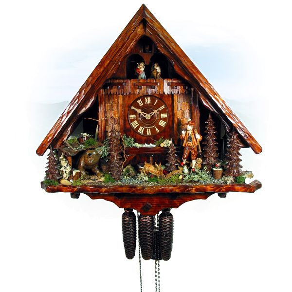 Kuckucksuhr Schweiz, August Schwer: Jagdhaus, Jäger, Bär